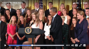 13-year-old Ayla at the White House, surrounded by the Obama staff and the Women's Soccer National Team